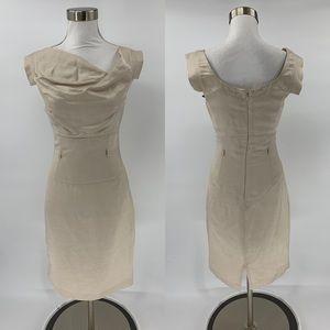 Black Halo Sheath Dress Champagne Jackie O Size 2